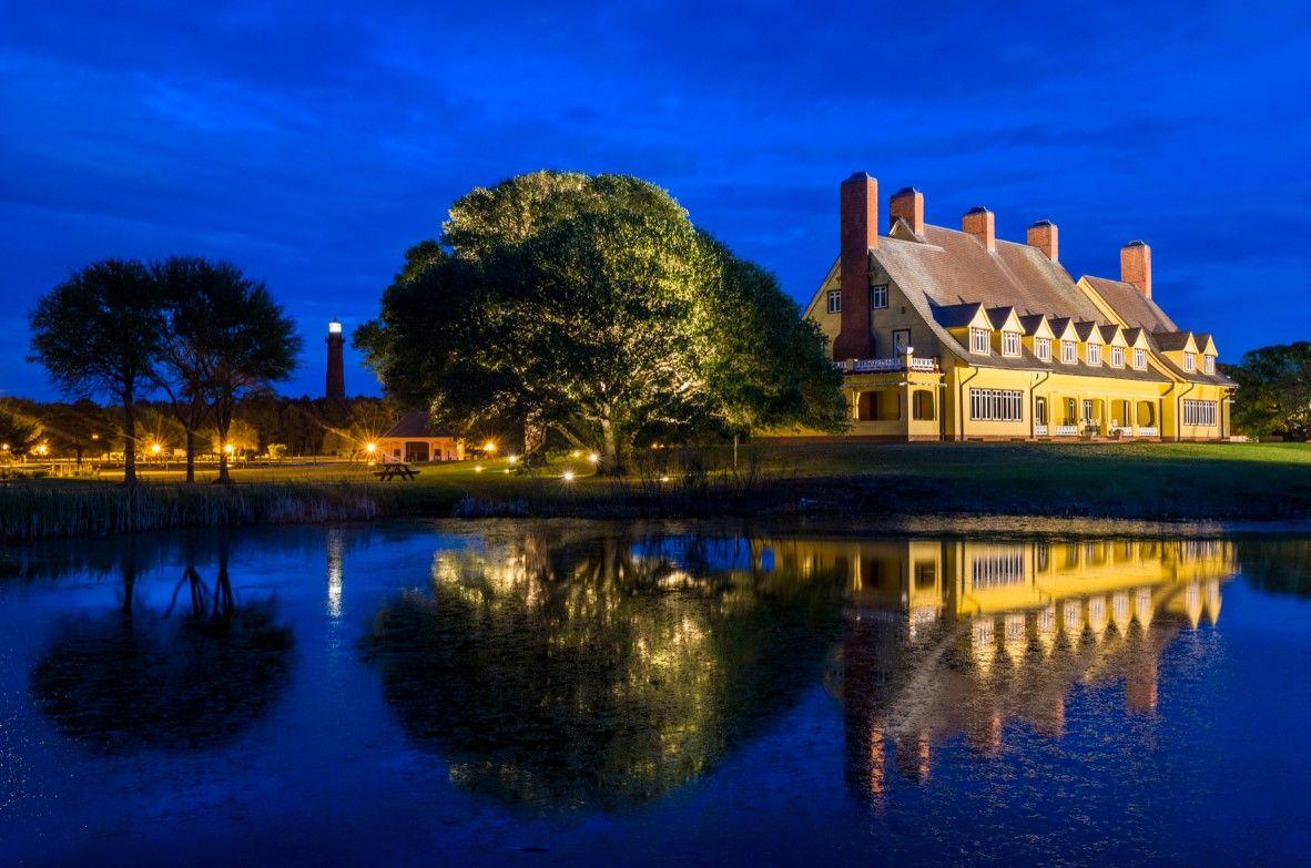 Whalehead Club night view in historic Corolla